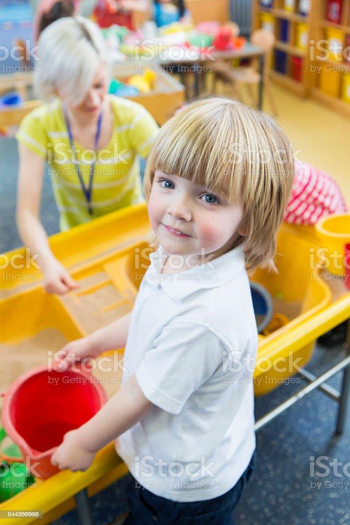Happy Boy at Nursery stock photo