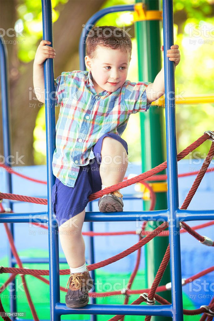 Happy Boy at the Playground stock photo