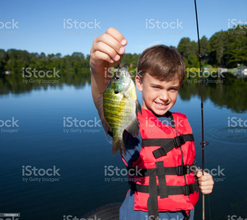 Happy Boy Fishing royalty-free stock photo