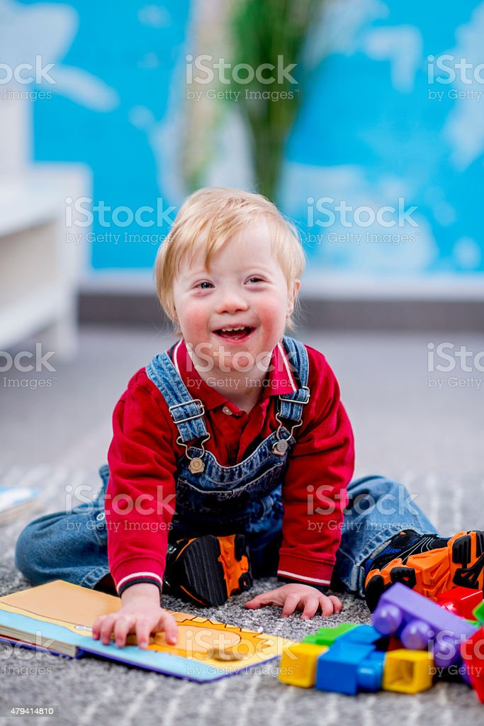Happy Boy in Daycare stock photo