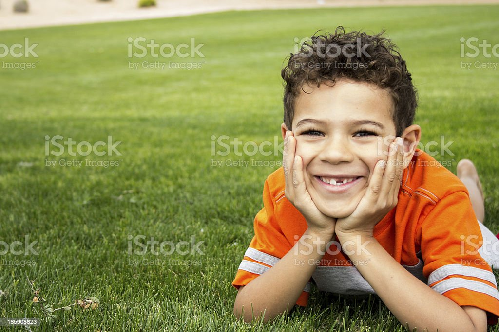 Happy Boy in the Grass stock photo