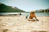 Happy boy on beach in Yosemite Ca