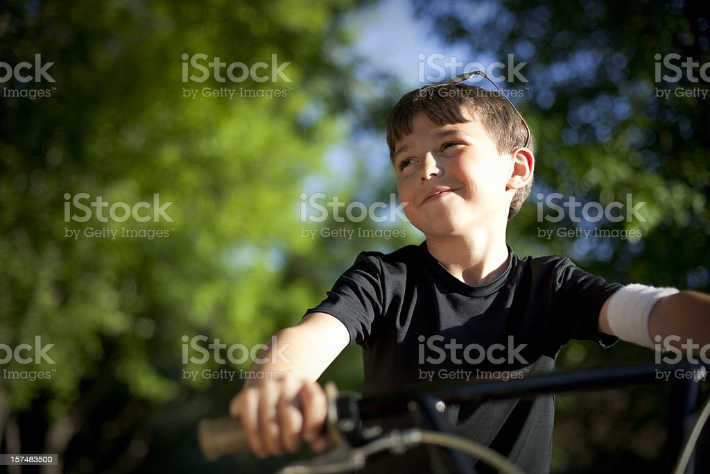 Happy Boy on his bike royalty-free stock photo