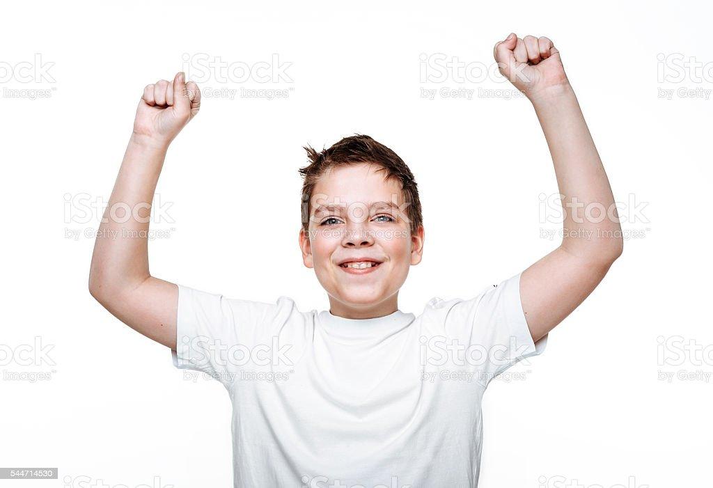 Happy boy on white background. stock photo