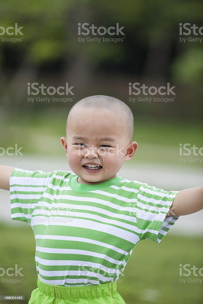 Happy boy outdoors royalty-free stock photo