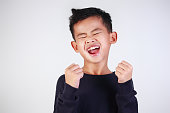 Happy Boy Shout with Joy of Victory