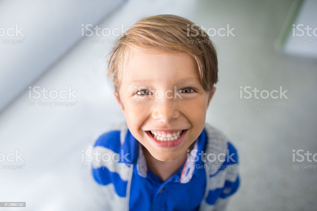 Happy boy smiling stock photo