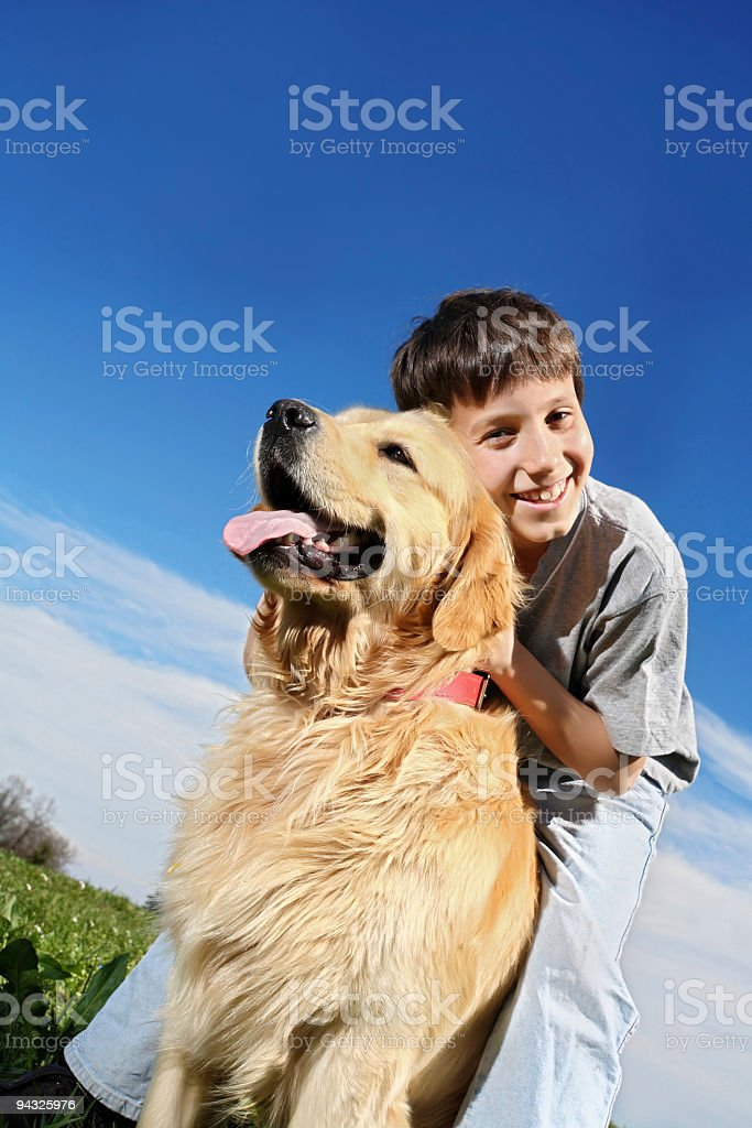 Happy boy with dog. royalty-free stock photo