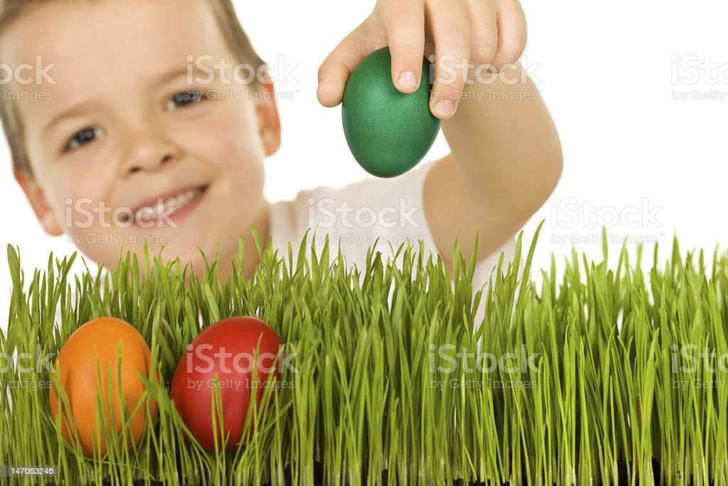 Happy boy with easter eggs in the grass royalty-free stock photo