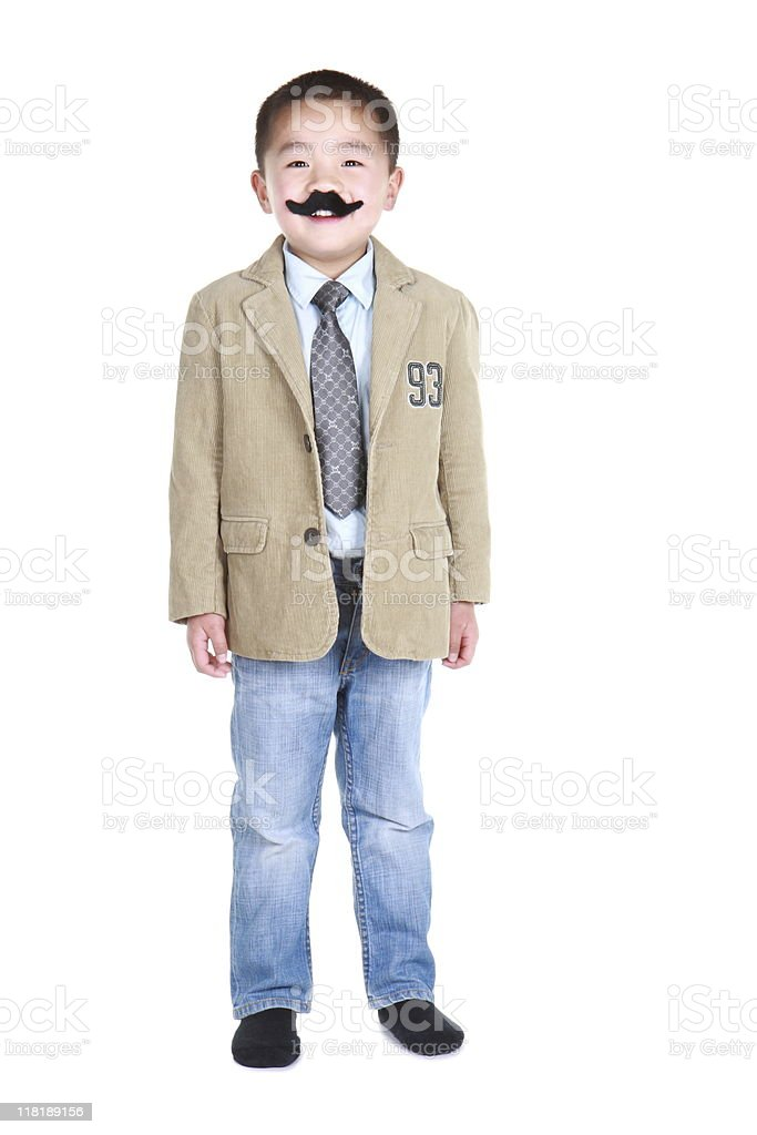 happy boy with fake mustache and goofy expression (series) royalty-free stock photo