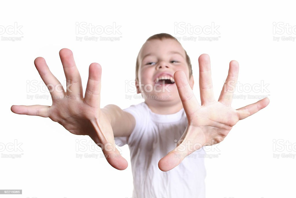 happy boy with fingers royalty-free stock photo