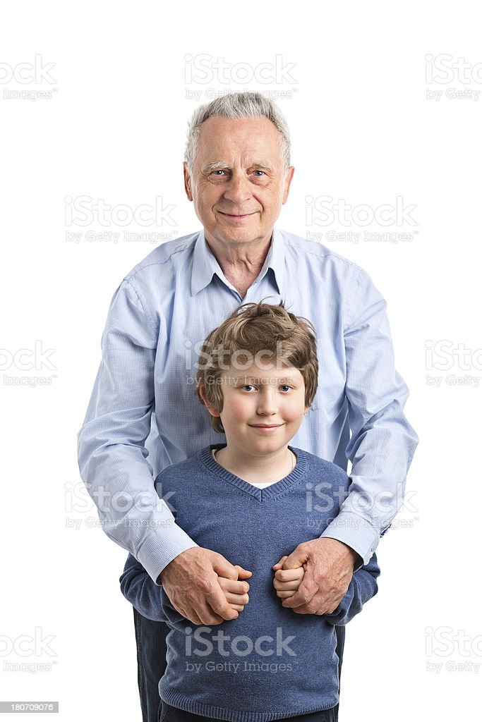 happy boy with grandfather royalty-free stock photo