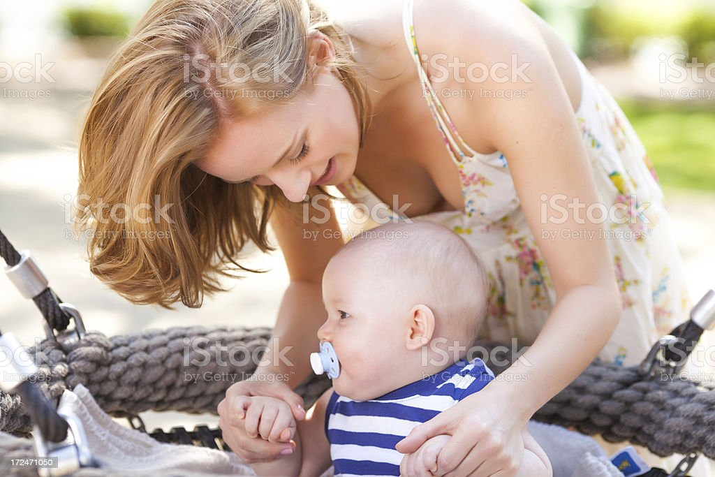 happy boy  with mom in park royalty-free stock photo