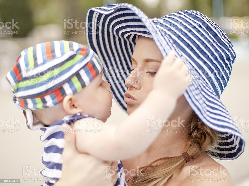 happy boy with mom in swimingpool royalty-free stock photo