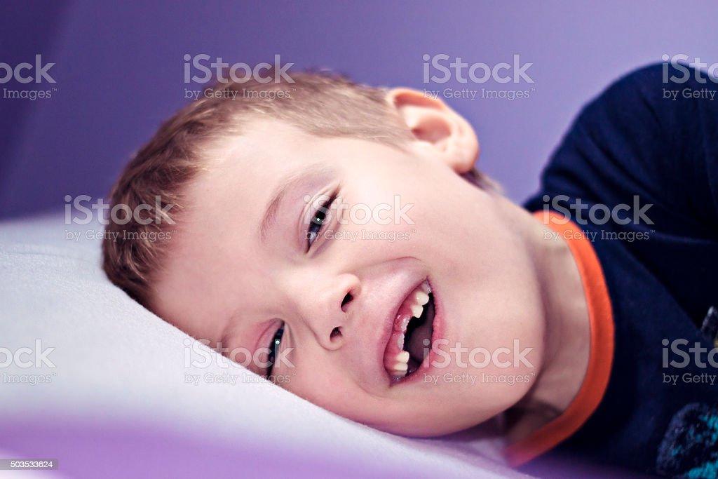 Happy boy with new teeth stock photo