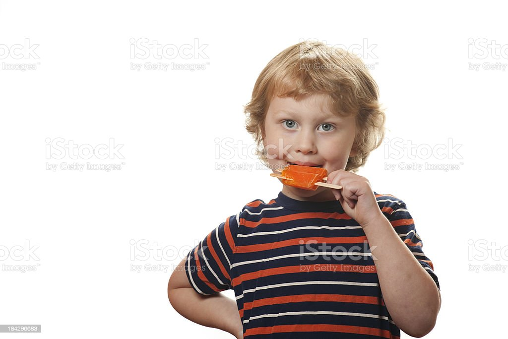 Happy Boy witth Popsicle royalty-free stock photo