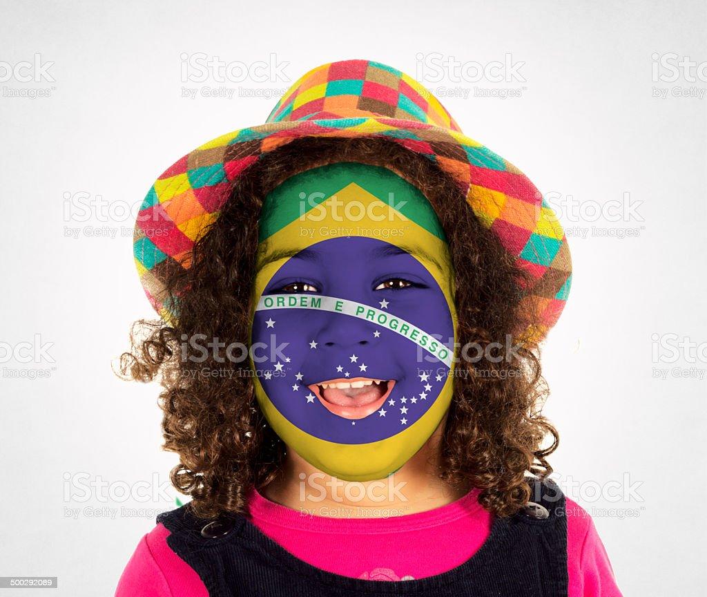 Happy Brasilian fan stock photo