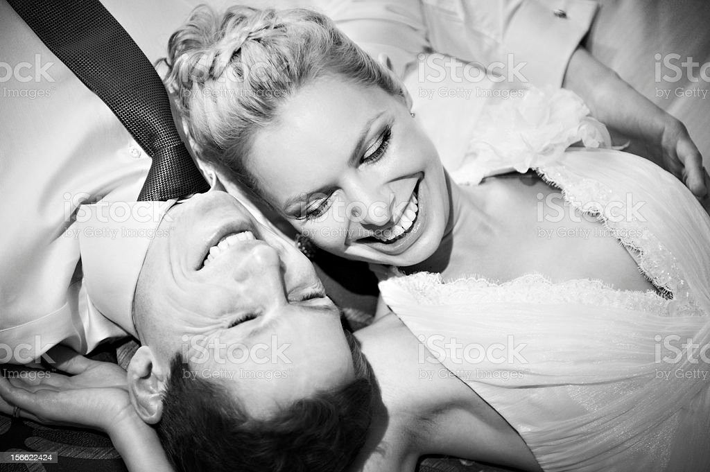 Happy bride and groom black white royalty-free stock photo