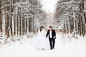 Happy bride and groom in winter wedding day
