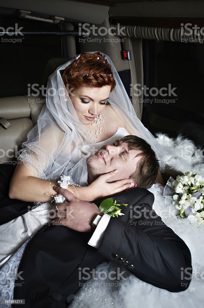 Happy bride and groom royalty-free stock photo