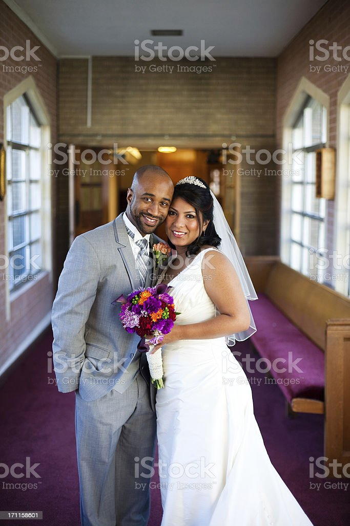 Happy Bride and Groom Portrait royalty-free stock photo