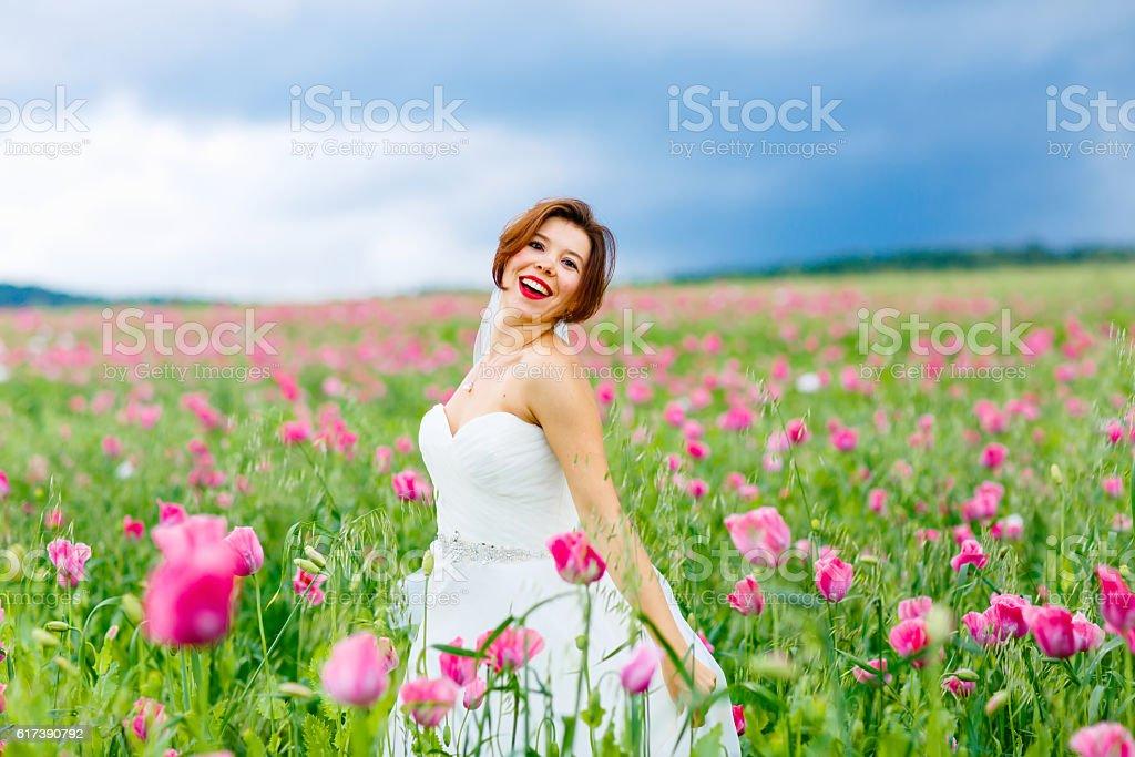 happy bride in white dress  in flower poppy field stock photo
