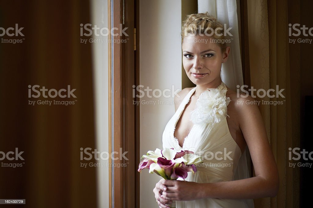 Happy bride with bouquet royalty-free stock photo