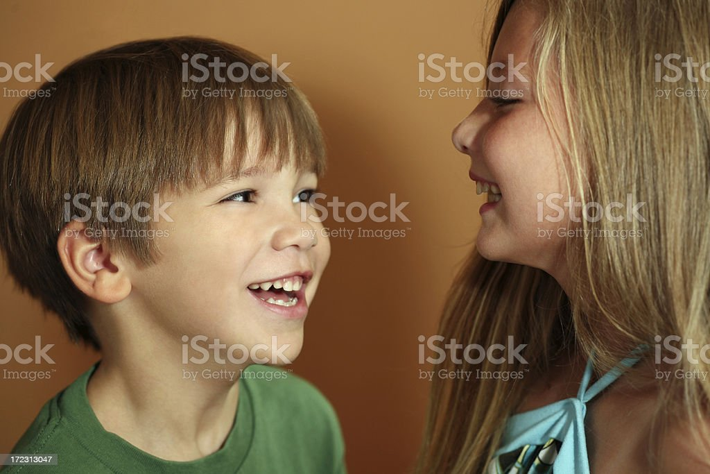 Happy Brother and Sister laughing royalty-free stock photo