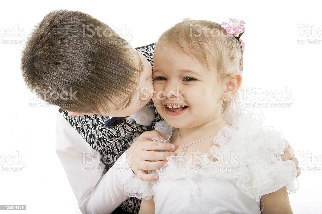 Happy brother the sister royalty-free stock photo
