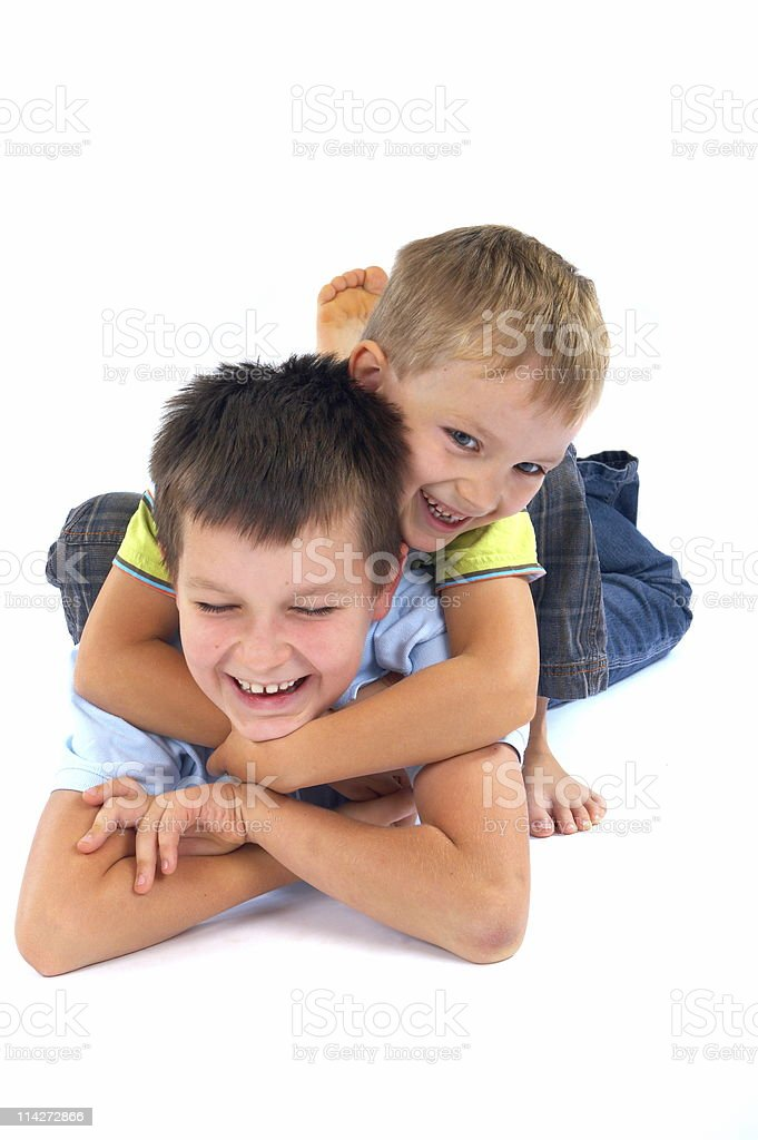 Happy brothers playing stock photo
