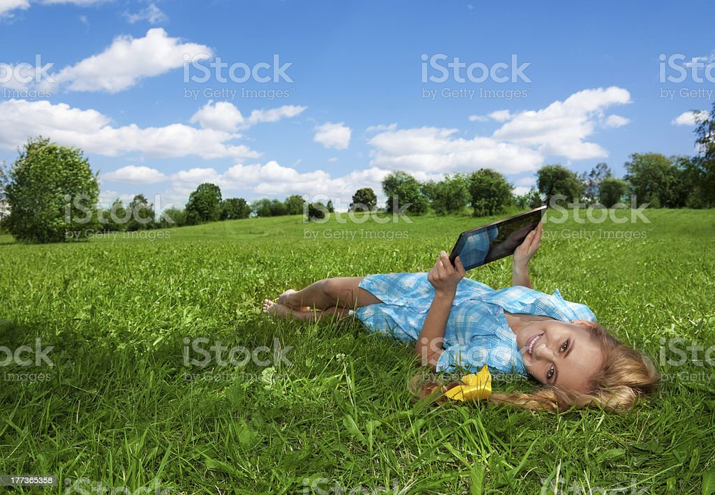 happy browsing in the park royalty-free stock photo