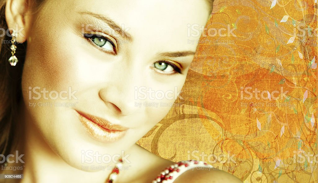 happy brunette bride face on grunge texture royalty-free stock photo