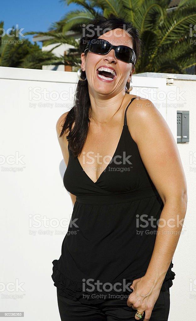 Happy brunette royalty-free stock photo