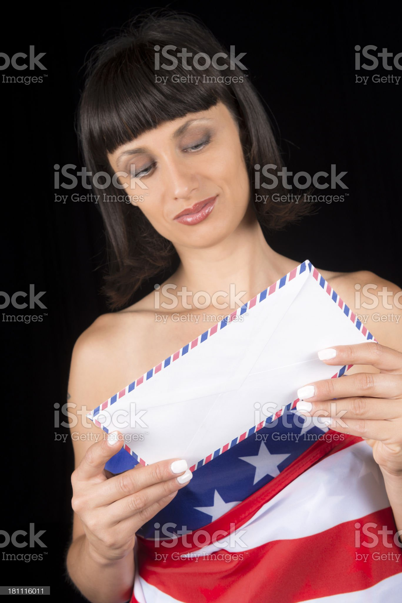 Happy Brunette with Letter and USA Flag royalty-free stock photo