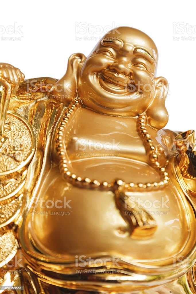 Happy Buddha isolated on white background stock photo