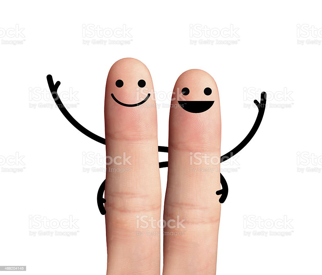 Happy buddy hugging each other, isolated with clipping paths. stock photo