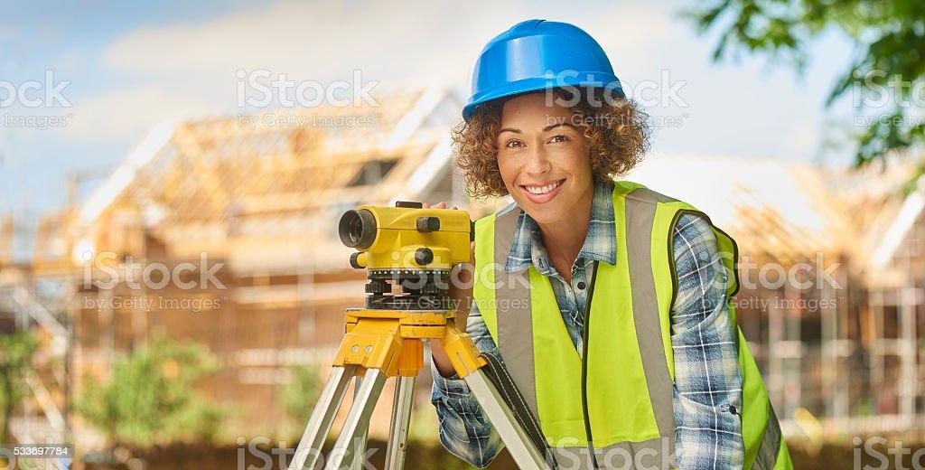 happy building surveyor stock photo
