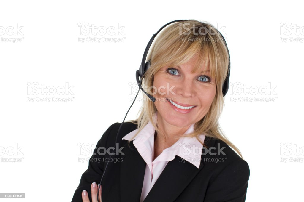 happy busines woman with headset royalty-free stock photo