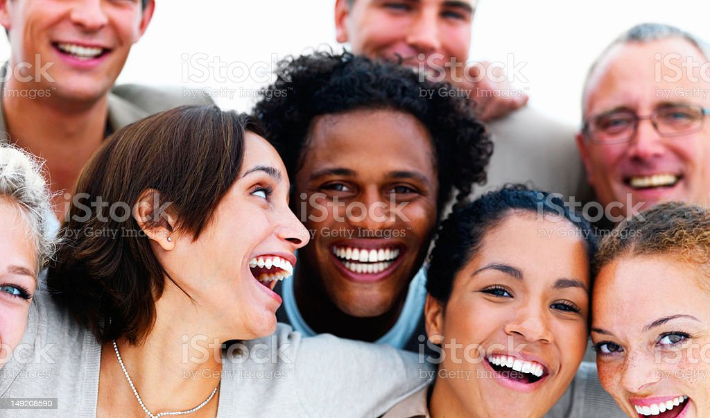 Happy business colleagues celebrating success royalty-free stock photo