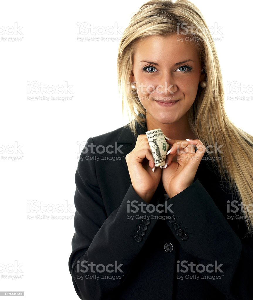 Happy business girl with a dollar note stock photo