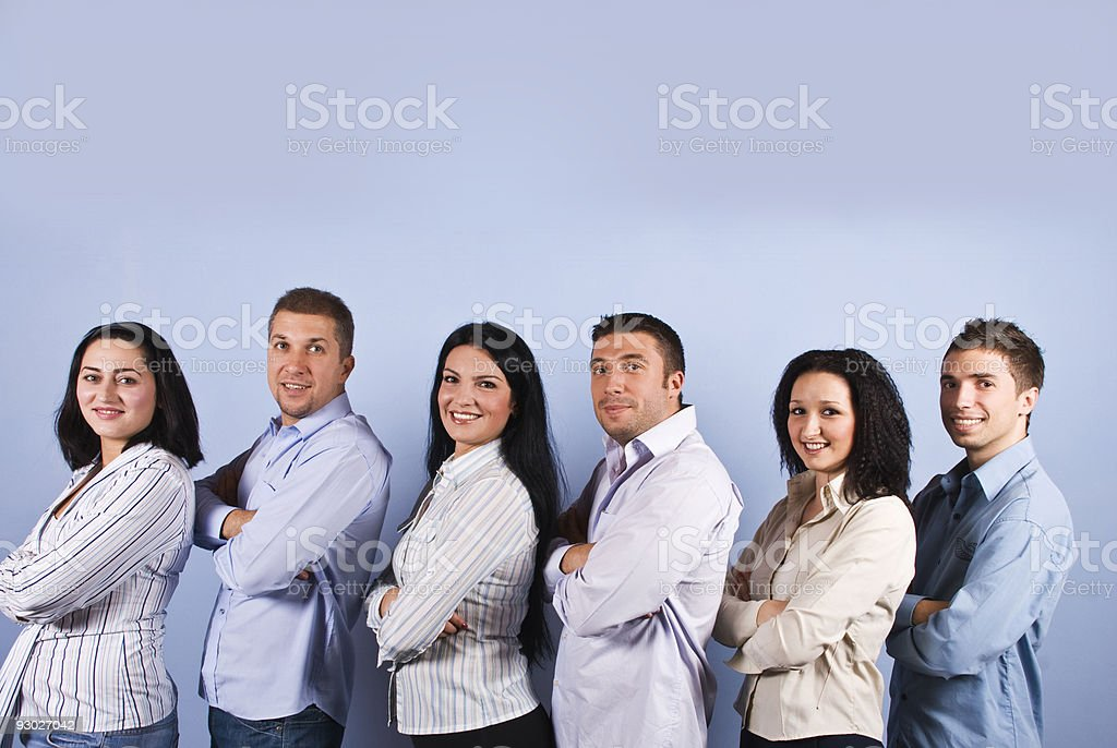Happy business group with smiling people royalty-free stock photo