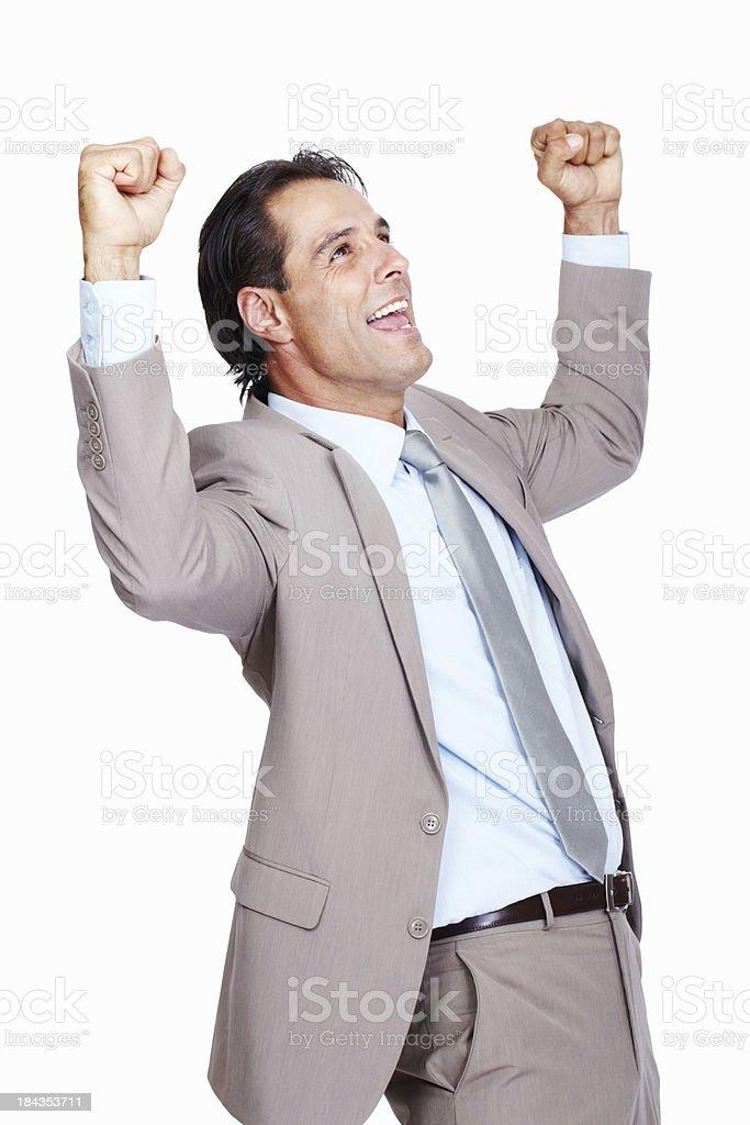 Happy business man cheering royalty-free stock photo