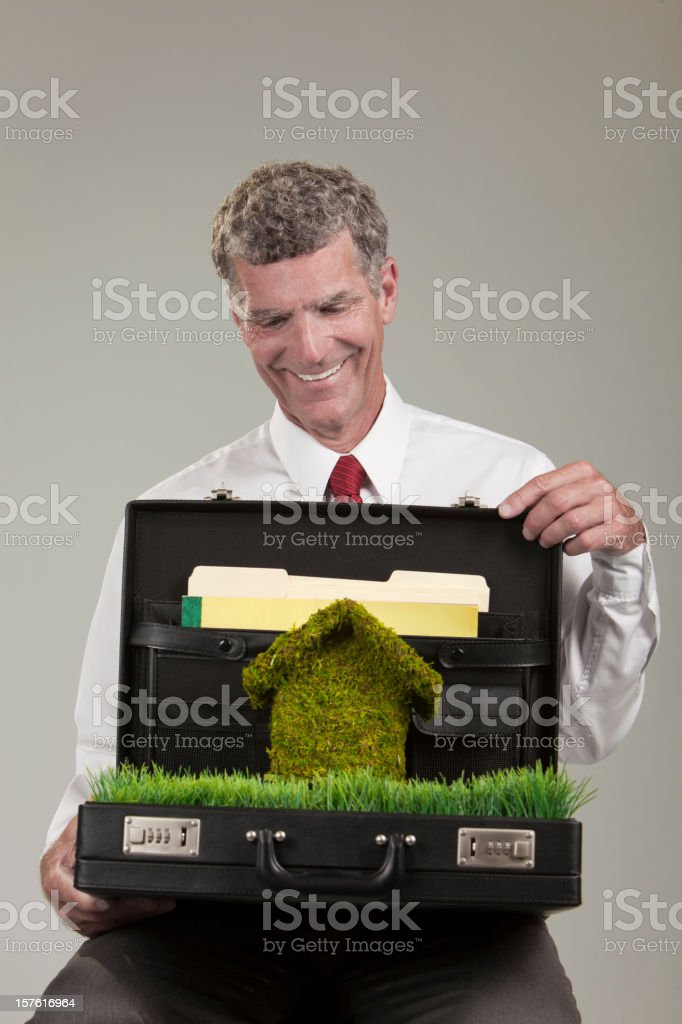 Happy Business Man Green Concept royalty-free stock photo