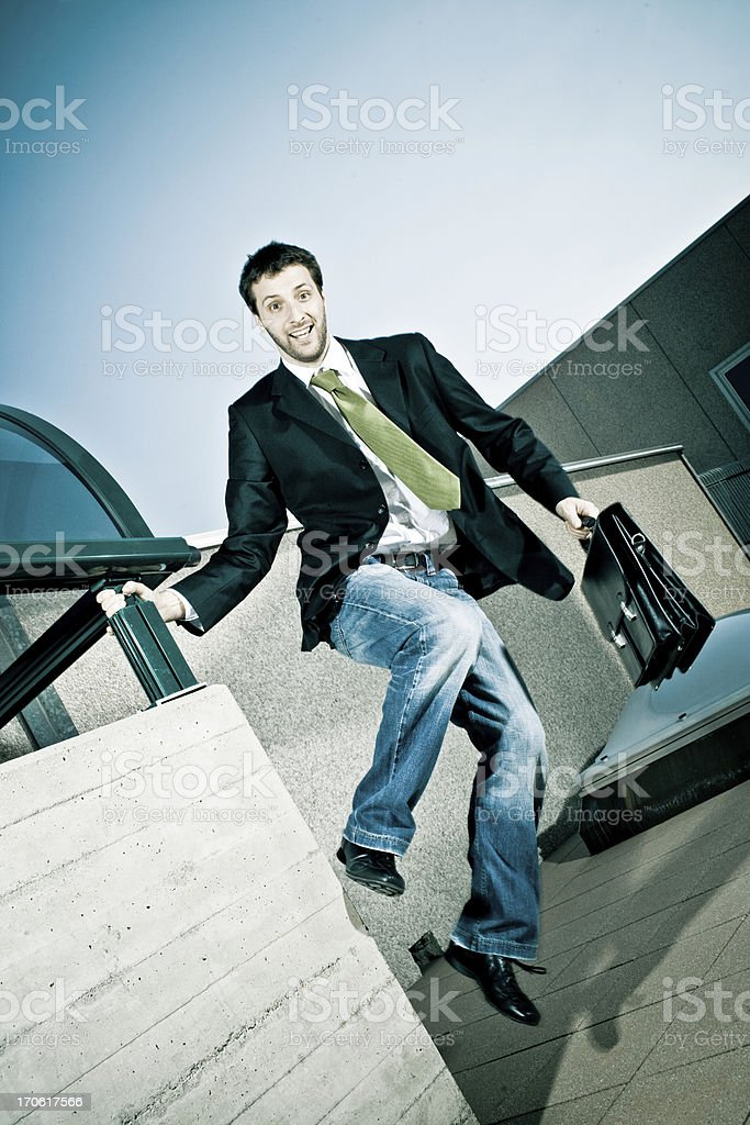 happy business man jump royalty-free stock photo