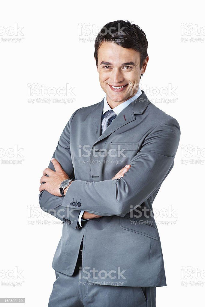 Happy business man standing with hands folded on white royalty-free stock photo