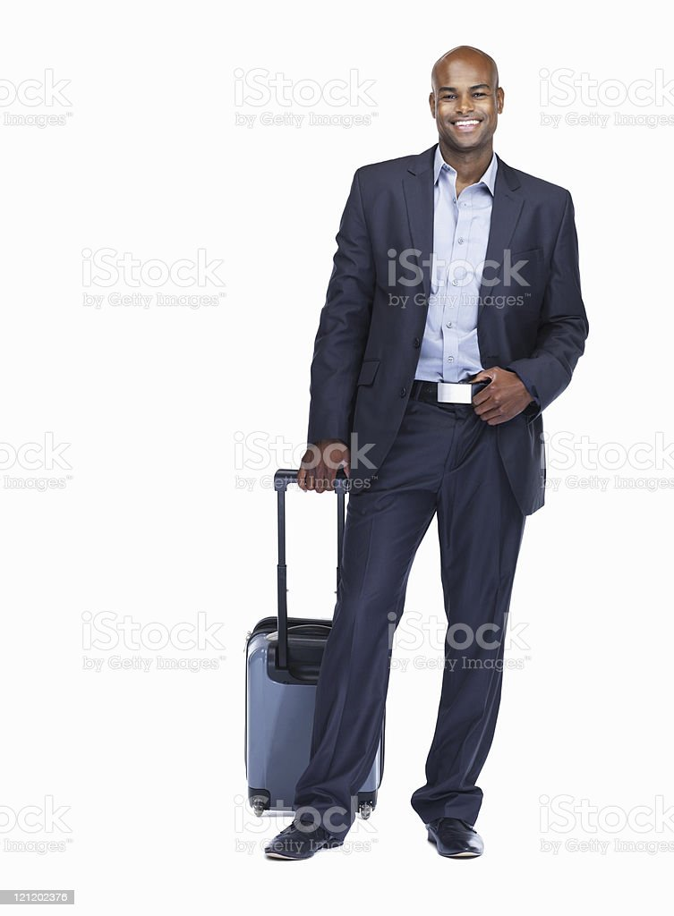 Happy business man with luggage on white royalty-free stock photo