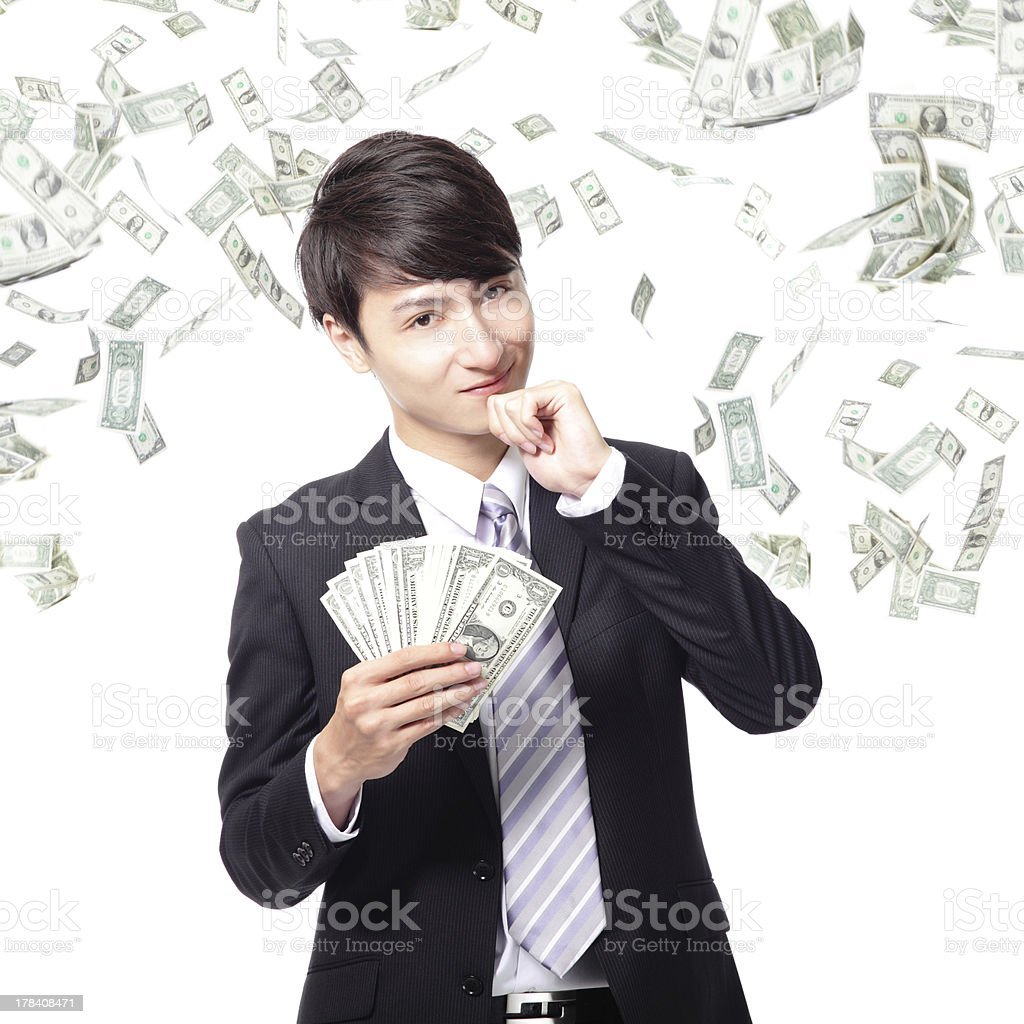 happy business man with us money stock photo