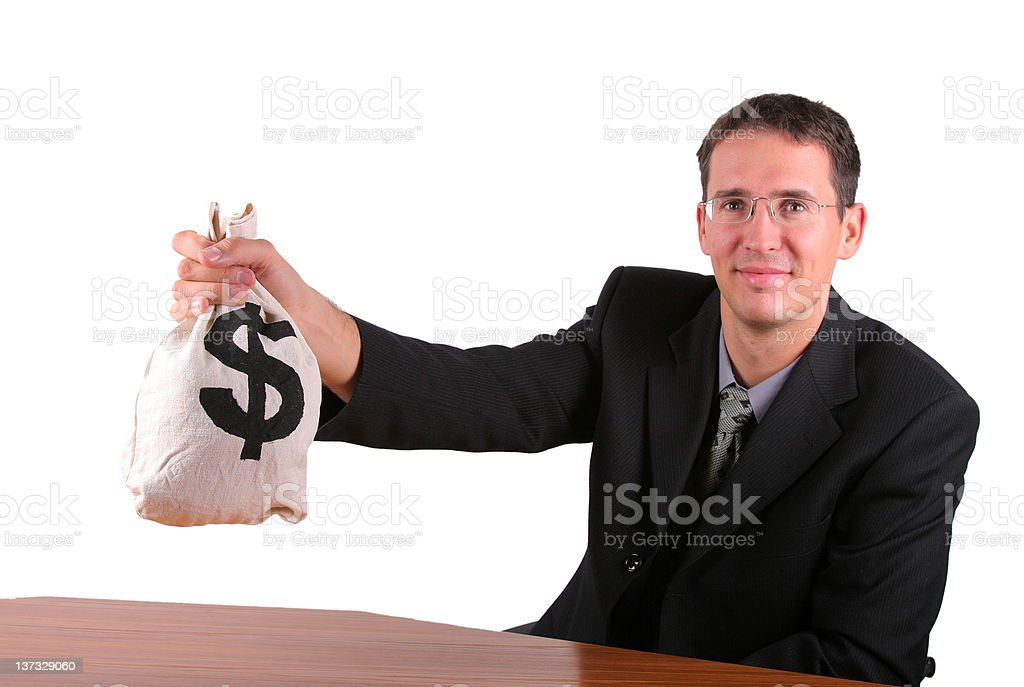 Happy business men show proudly his money bag royalty-free stock photo
