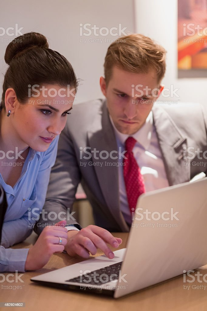 Happy business people in office stock photo