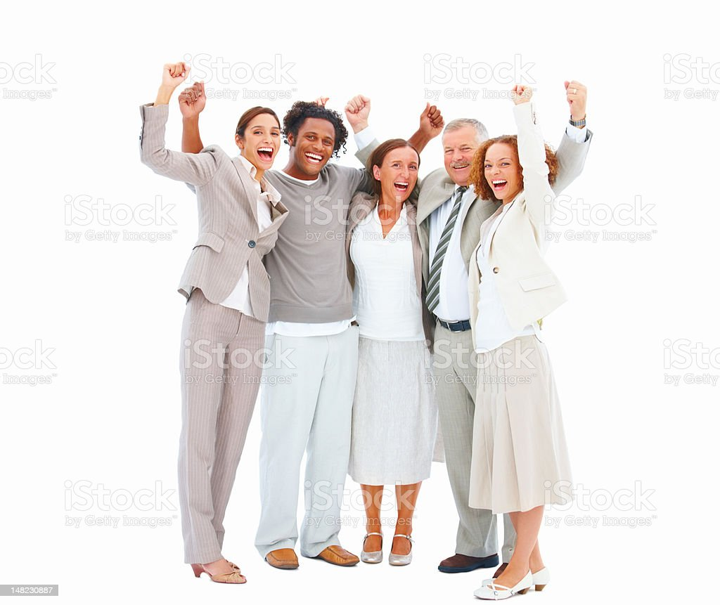 Happy business people raising their hands royalty-free stock photo